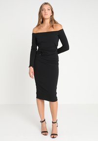 Lost Ink - RING DETAIL BARDOT MIDI BODYCON - Fodralklänning - black - 1