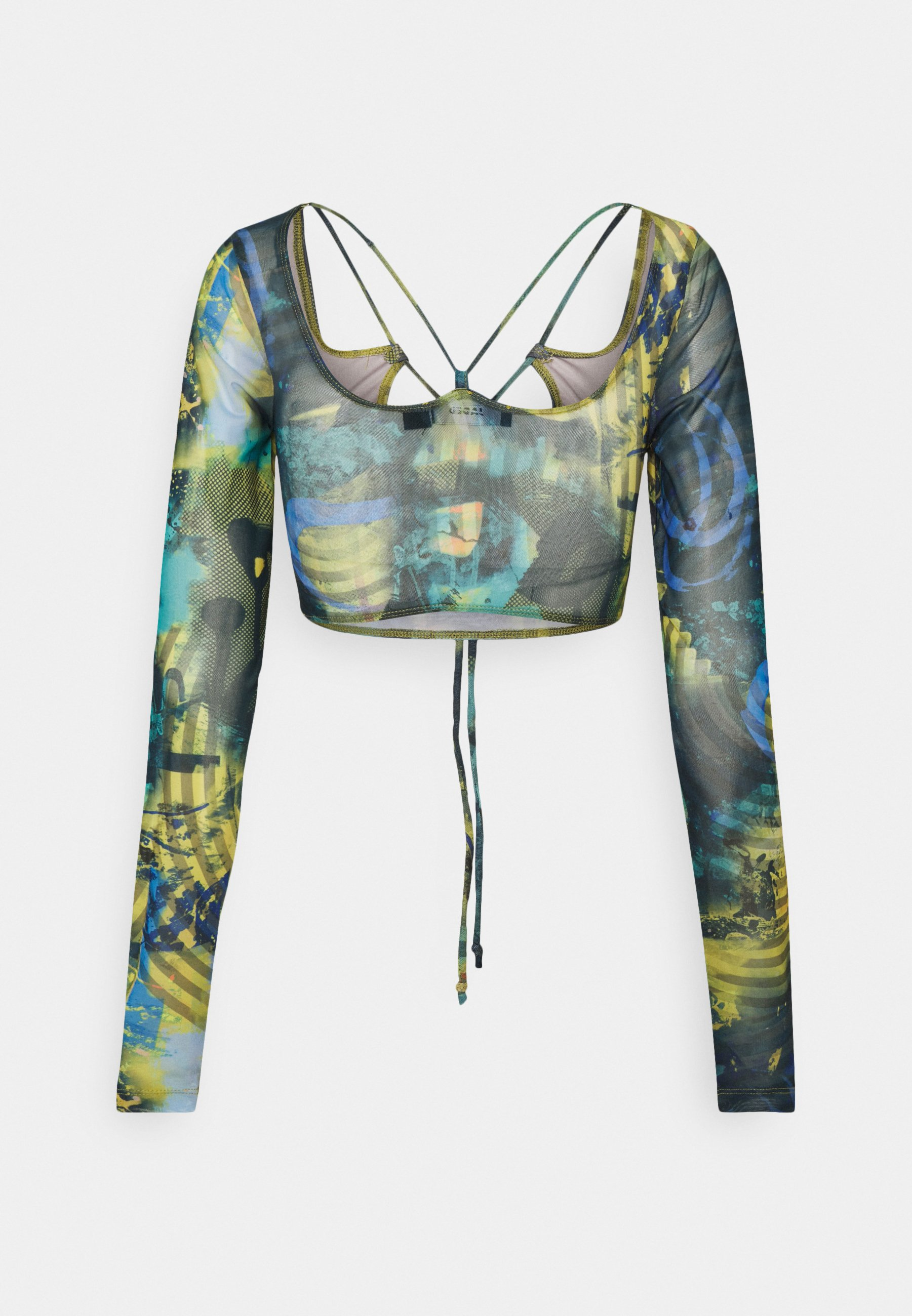 Women STRAPPY CROP WITH SLEEVES ABSTRACT BURN - Long sleeved top