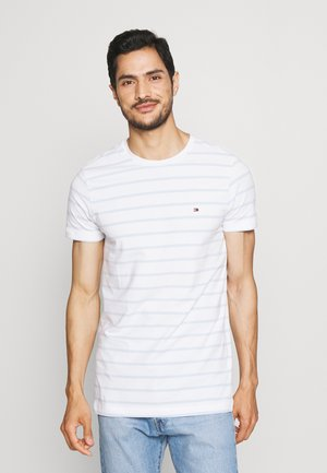 STRETCH SLIM FIT TEE - T-shirt basic - white/breezy blue