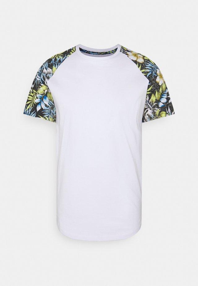 JJFLOWER TEE CREW NECK - T-Shirt print - black