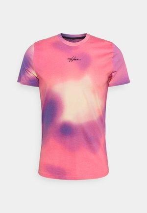 Print T-shirt - pink/blue/yellow wash