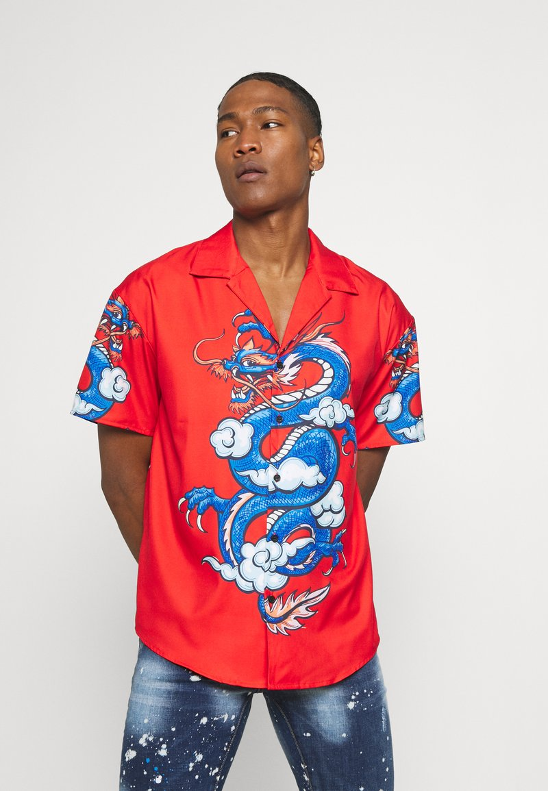 Mennace - SATEEN DRAGON REVERE SHIRT - Camisa - red