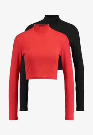 HIGH NECK CROP 2 PACK - Pitkähihainen paita - black/red