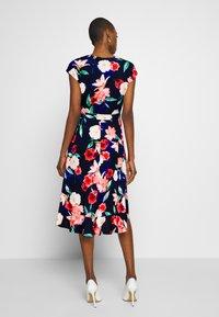 Wallis - ELECTRIC FLORAL RUFFLE WRAP DRESS - Jersey dress - ink - 3