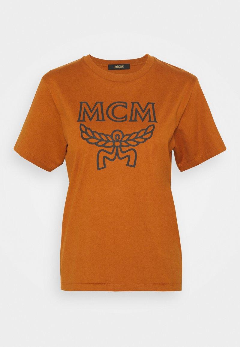MCM - WOMENS LOGO KNIT LEGGINGS - Leggings - Trousers - cognac