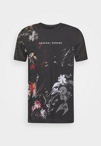 Criminal Damage - WARPED FLOWER TEE - Print T-shirt - black/multi coloured - 0