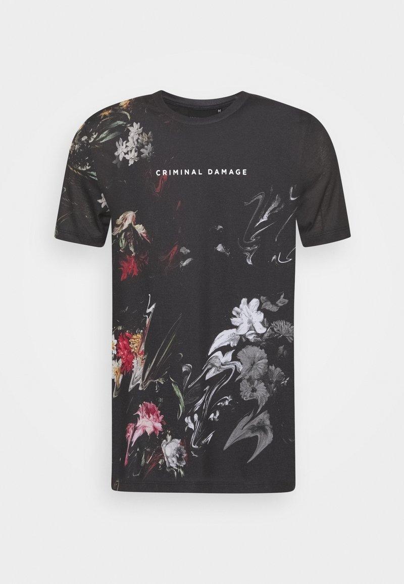 Criminal Damage - WARPED FLOWER TEE - Print T-shirt - black/multi coloured