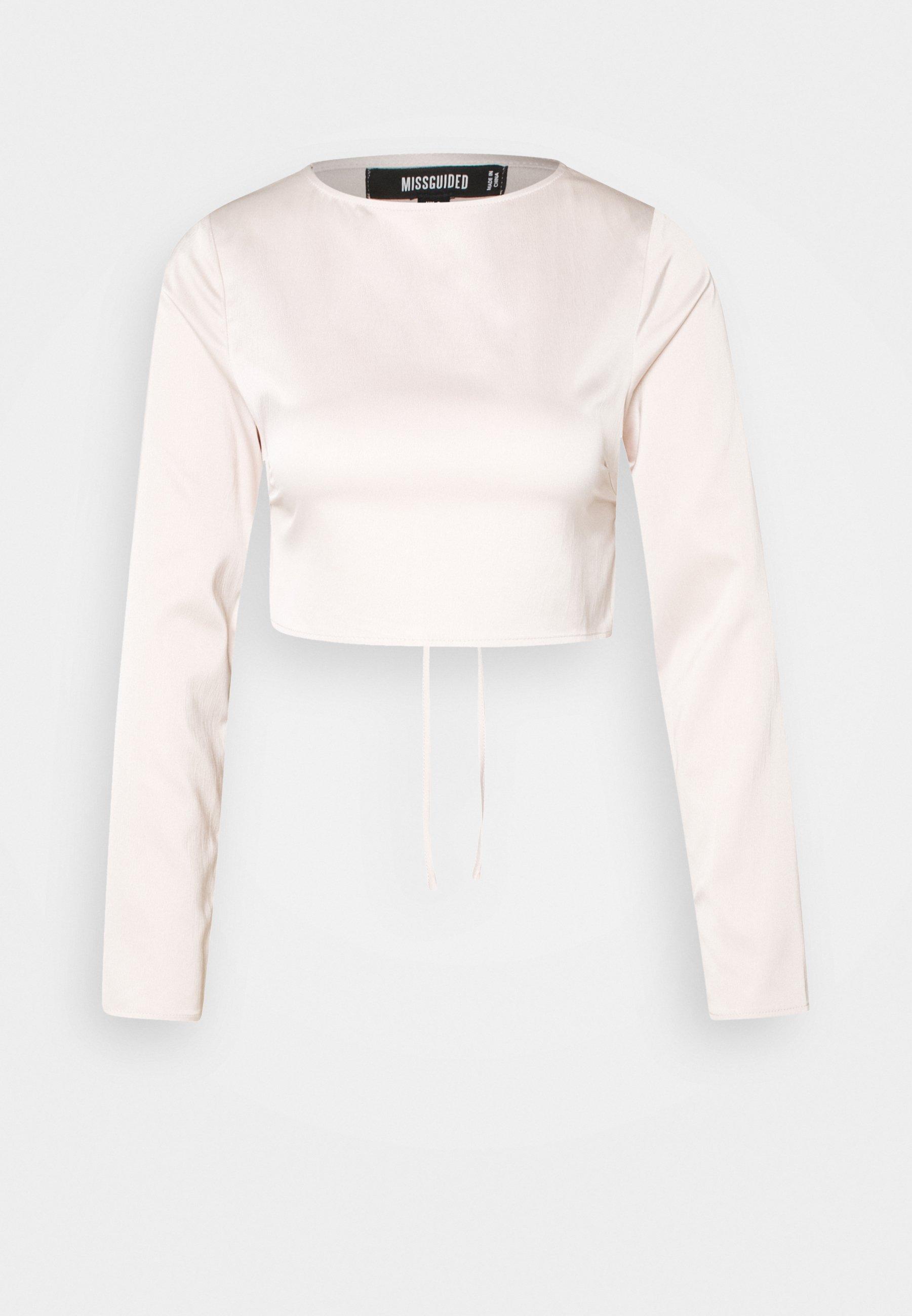 Women OPEN BACK LONG SLEEVE CROP - Long sleeved top
