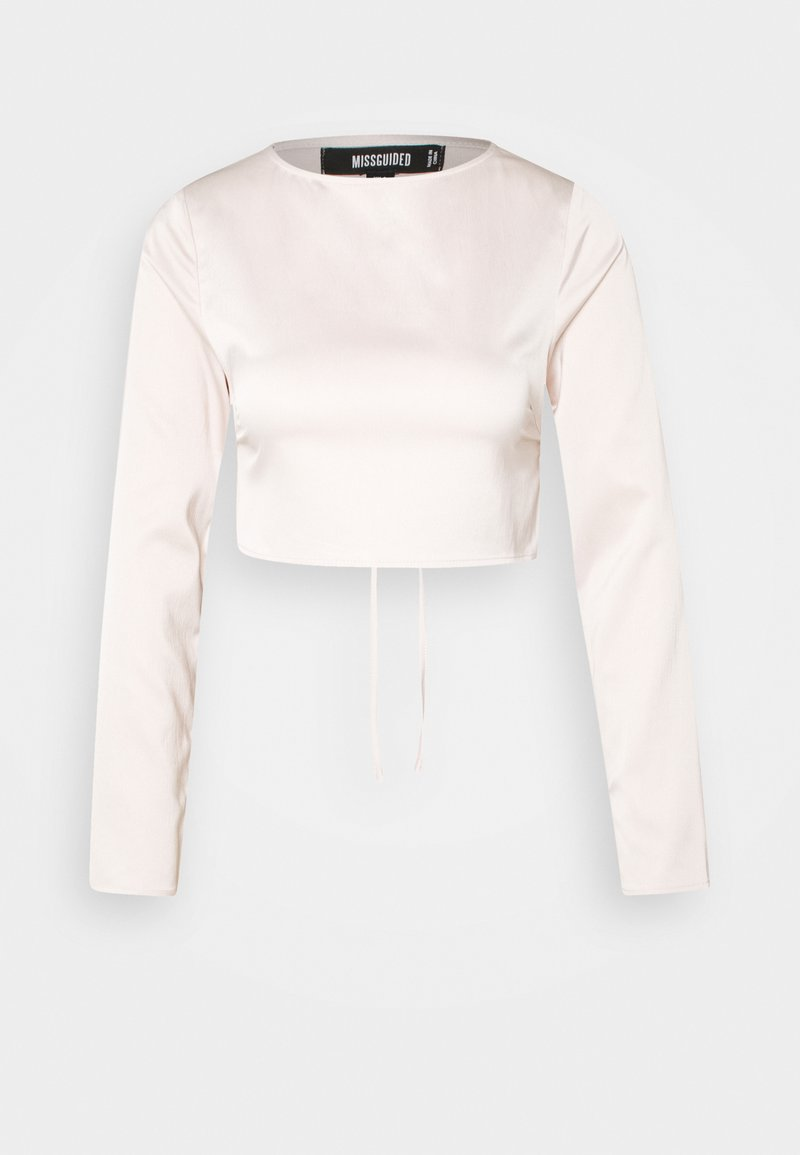 Missguided - OPEN BACK LONG SLEEVE CROP - Long sleeved top - blush