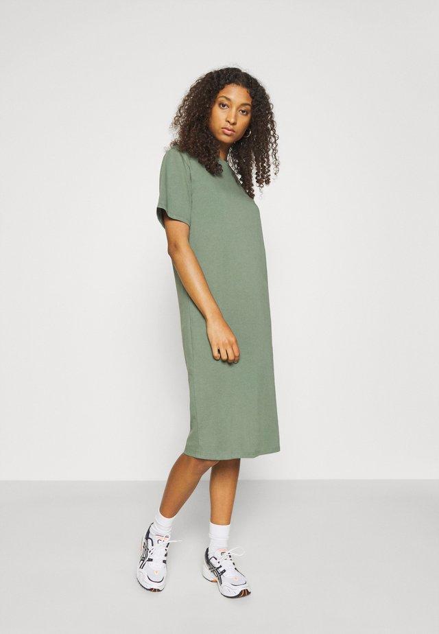 Basic midi Jerseykleid - Jerseyjurk - green