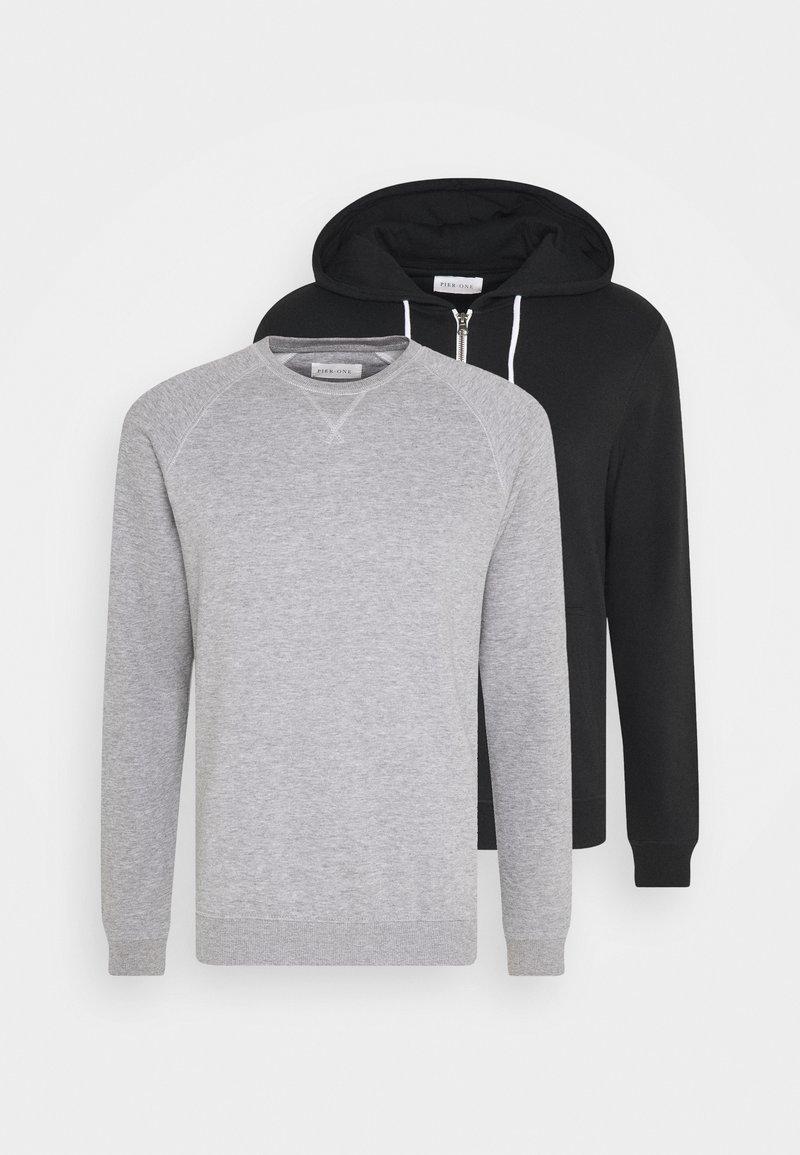 Pier One - SET - Sweat à capuche - light grey melange/black