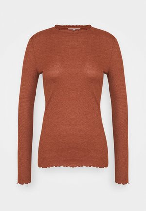 LONGSLEEVE WITH FRILLED EDGES - Topper langermet - rust orange melange