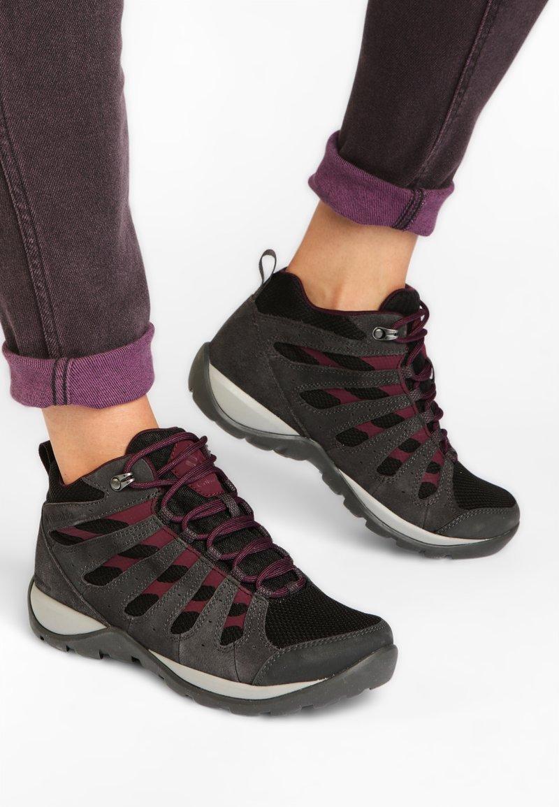 Columbia - REDMOND™ V2 MID WP - Hiking shoes - black, black cherry