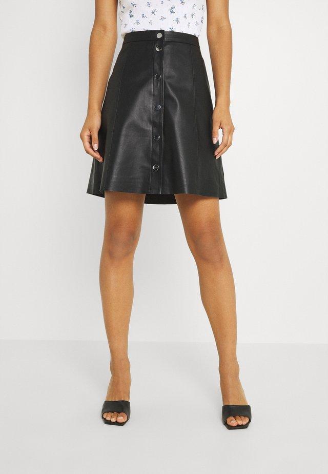 YASBINNA SKIRT - Leather skirt - black