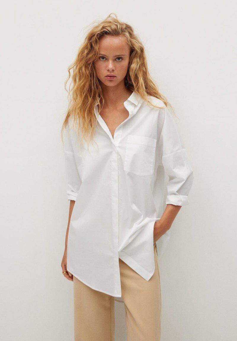 Mango - LONG-A - Button-down blouse - weiß