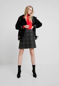 Esprit Collection - WINTER CHECK ME - Mini skirt - black - 1