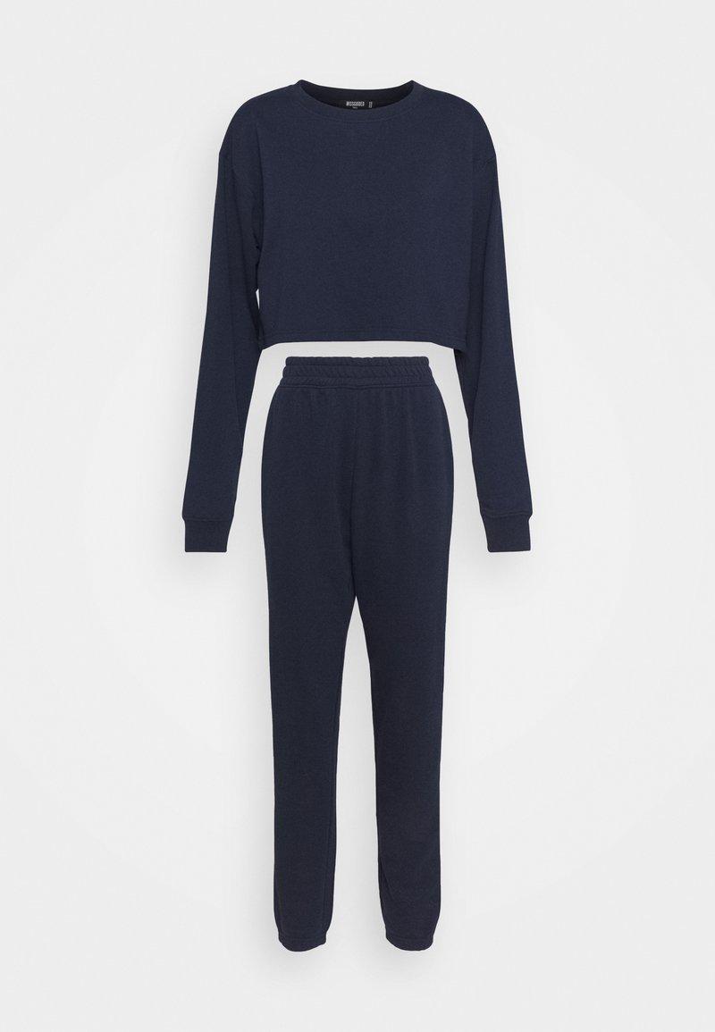 Missguided Tall - CROP JOGGER SET - Sweatshirt - navy