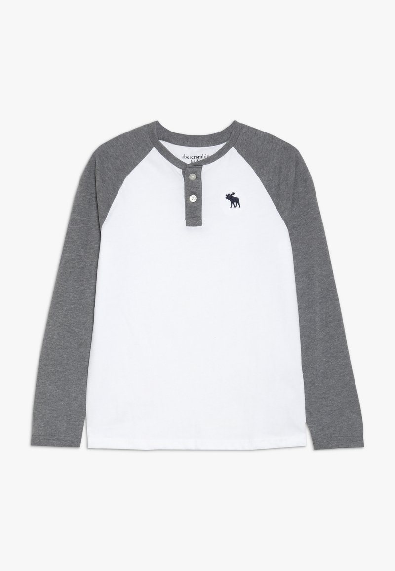 Abercrombie & Fitch - RAGLAN HENLEY  - Top sdlouhým rukávem - white/grey
