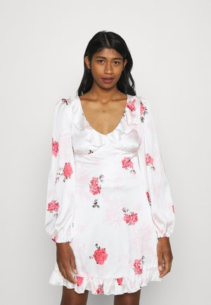 FLORAL FRILL DETAIL SWING DRESS - Sukienka koktajlowa - white