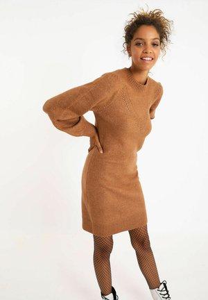 Gebreide jurk - orangebraun