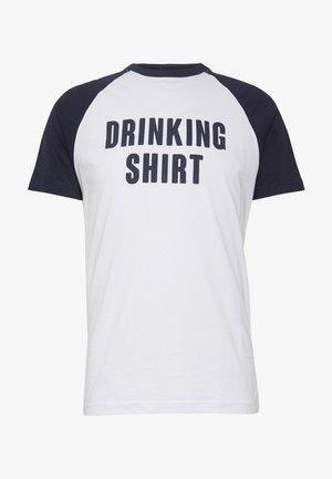 FLUORITE - T-shirt print - white/navy