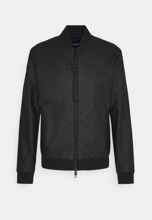 COAT WITH EMBOSSED GEOMETRIC PATTERN - Faux leather jacket - nero