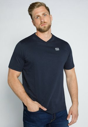 MIT V AUSSCHNITT  - T-shirt basic - dunkel marine