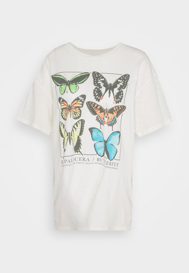 ECLECTIC ILLUSTRATION OVERSIZE LENNON TEE - T-shirt con stampa - cream