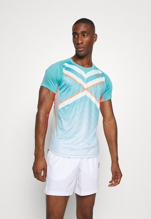 TENNIS TEE - Camiseta estampada - techno cyan