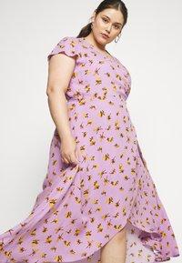 Lost Ink Plus - FLORAL WRAP DRESS - Day dress - purple - 3