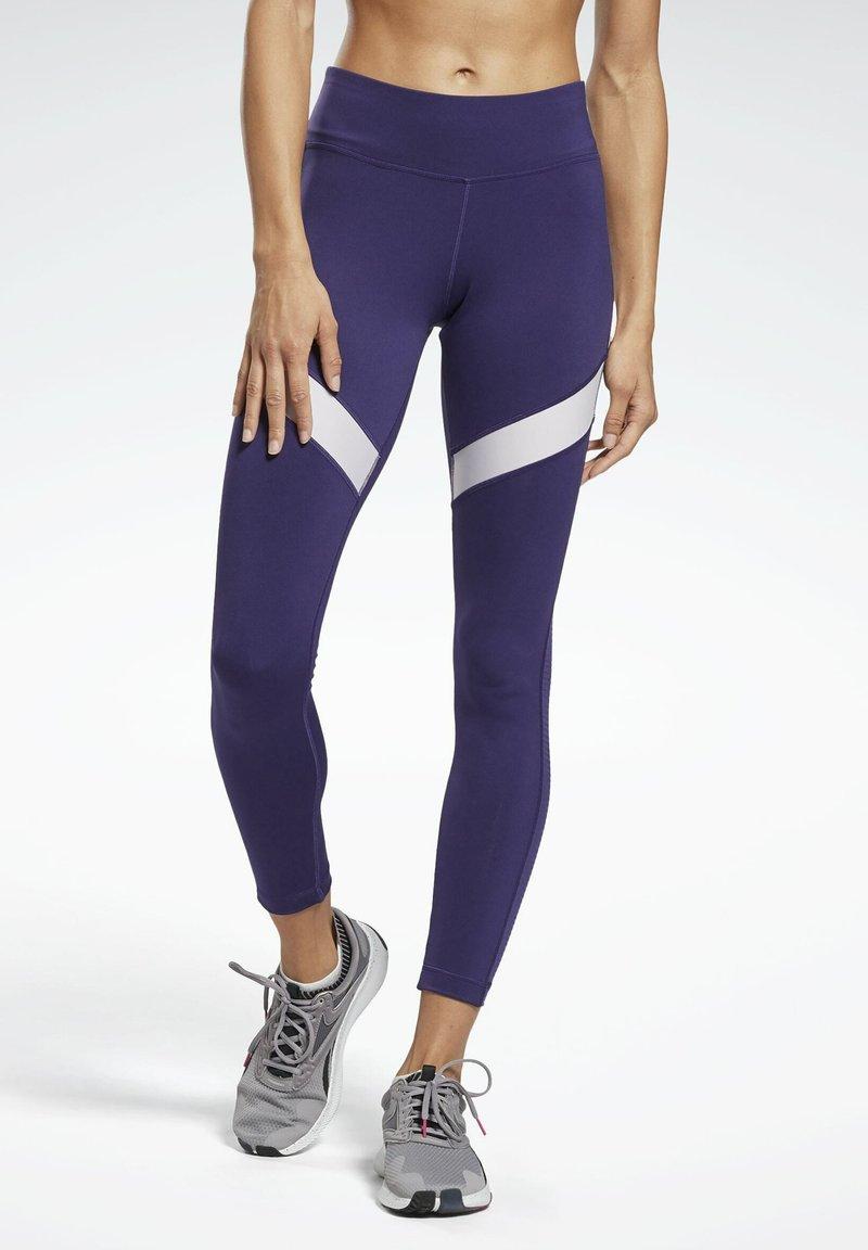 Reebok - MESH WORKOUT READY REECYCLED LEGGINGS - Leggings - purple