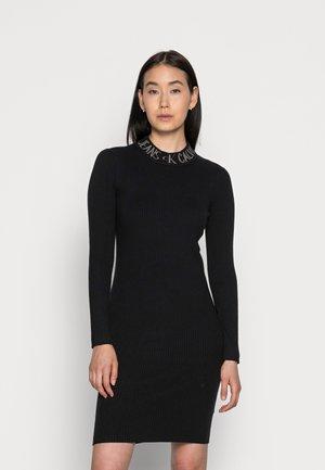 INTARSIA LOGO CUT OUT DRESS - Day dress - black
