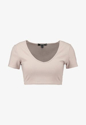 BRUSHED CROP - T-shirts med print - stone