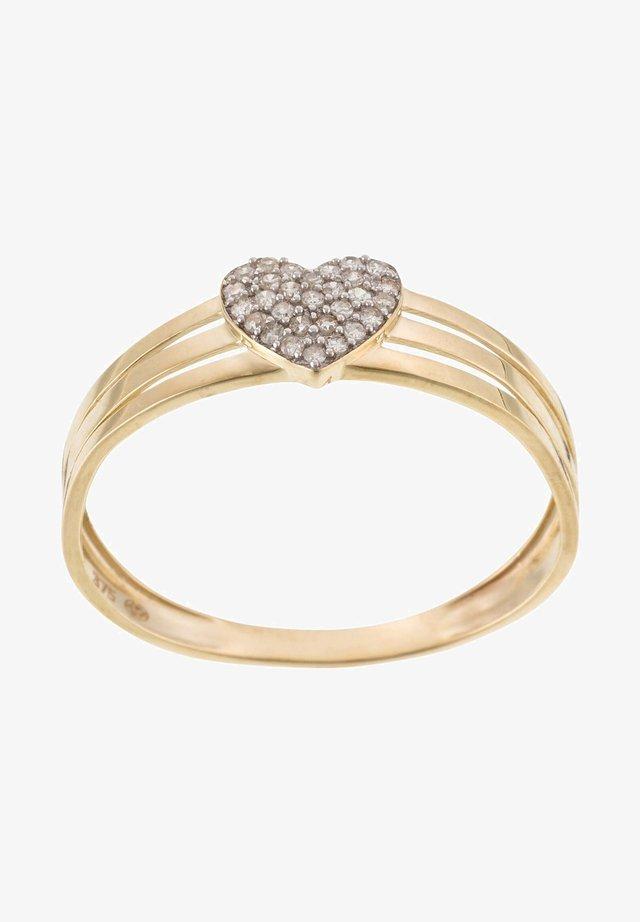 9K YELLOW GOLD RING CERTIFIED 29 DIAMONDS HP1 0.1 CT - Ring - yellow