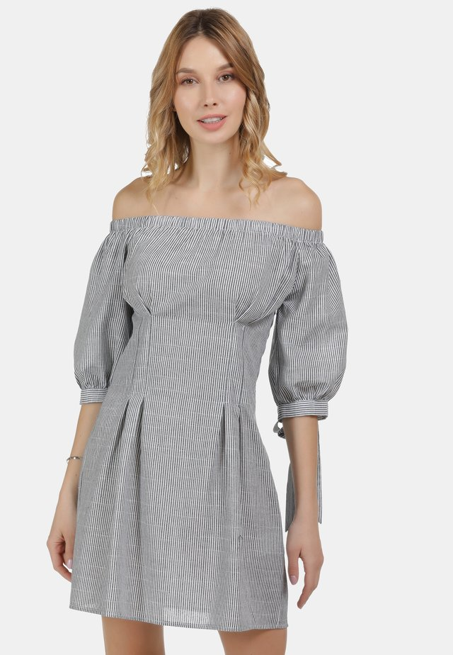 Korte jurk - blau weiss gestreift