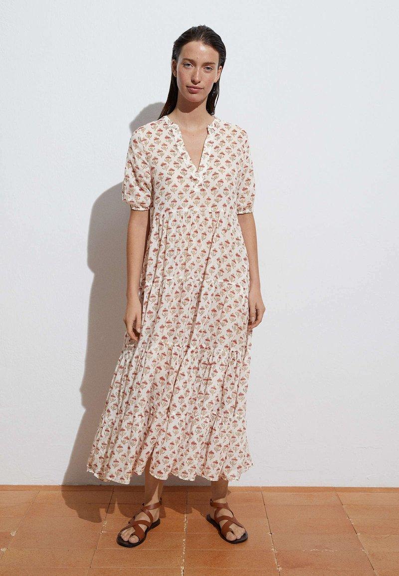 OYSHO - LONG STAMP  - Maxi dress - off-white