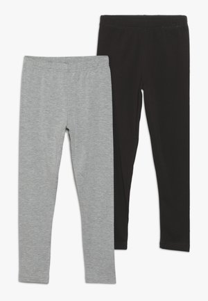 2 PACK  - Leggings - Trousers - light grey/black