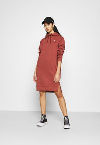 G-Star - GRAPHIC TEXT BF HOODED - Strikket kjole - cinnamon red - 1