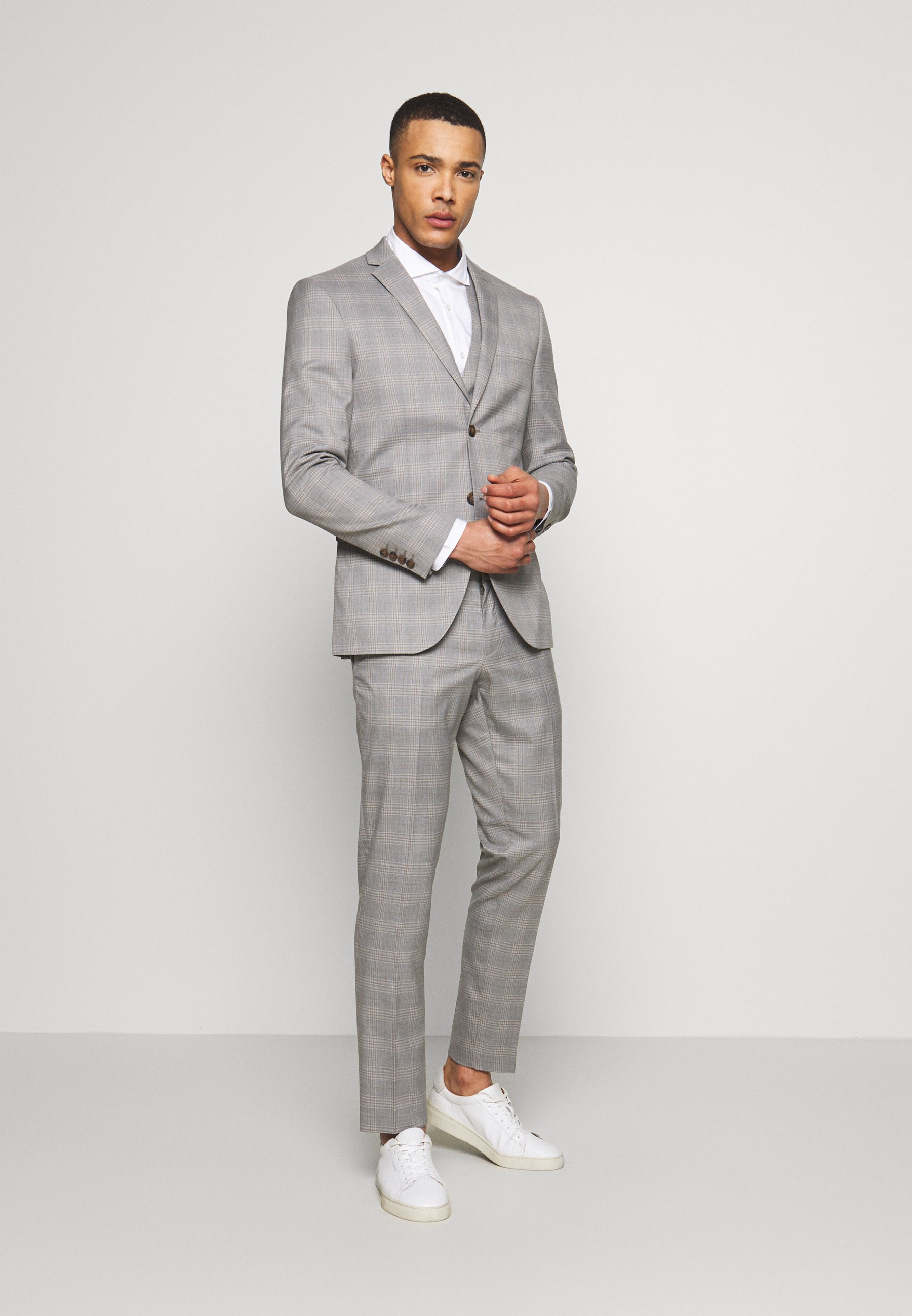 Isaac Dewhirst CHECK 3 PIECES SUIT - Costume - grey
