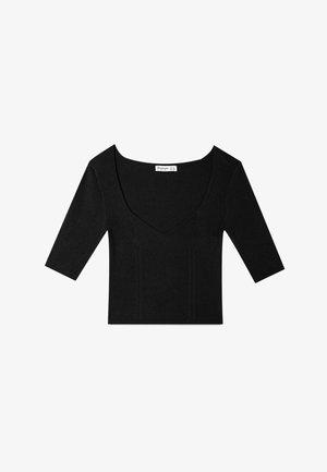 MIT HERZAUSSCHNITT - T-Shirt basic - black