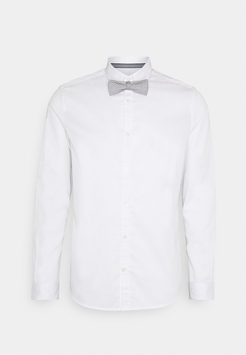 TOM TAILOR - FITTED EASY CARE WITH BOWTIE - Camicia - white
