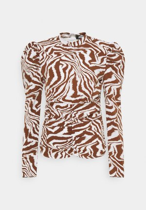 HIGH NECK RUCHED FRONT ZEBRA - Pusero - brown