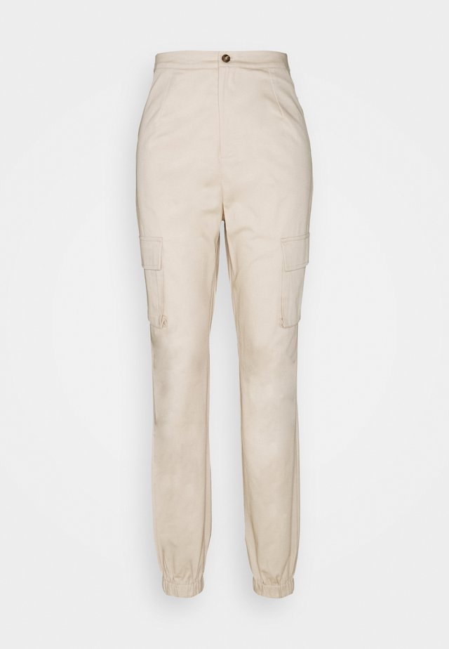 POCKET DETAIL TROUSERS - Cargo trousers - cream