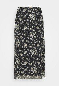 Even&Odd - Mesh midi skirt with lettuce hem - A-line skjørt - black - 3