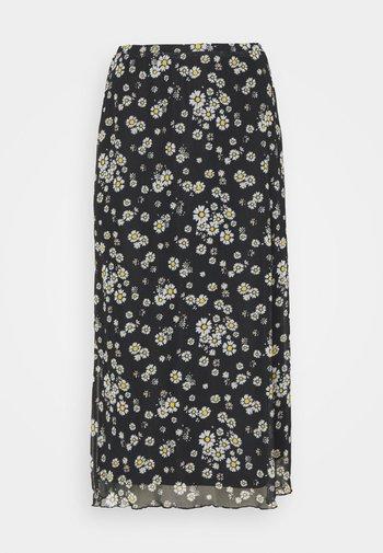 Mesh midi skirt with lettuce hem - A-line skirt - black