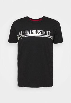 T-shirt med print - black/metalsilver