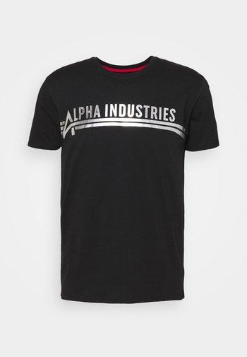 T-shirt z nadrukiem - black/metalsilver