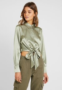Topshop - TIE FRONT SHIRT - Overhemdblouse - olive - 0