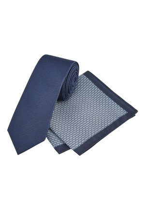 NAVY TEXTURED TIE WITH GEOMETRIC POCKET SQUARE SET - Pocket square - blue