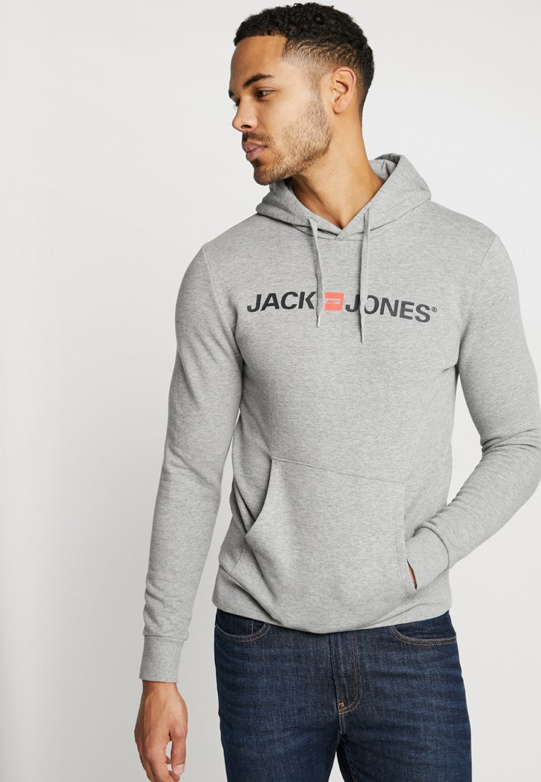 Jack & Jones - JJECORP LOGO HOOD - Mikina s kapucí - light grey melange